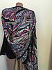 Чорний шарф з різнобарвним орнаментом 170*70 см