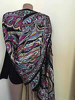 Чорний шарф з різнобарвним орнаментом 170*70 см, фото 1