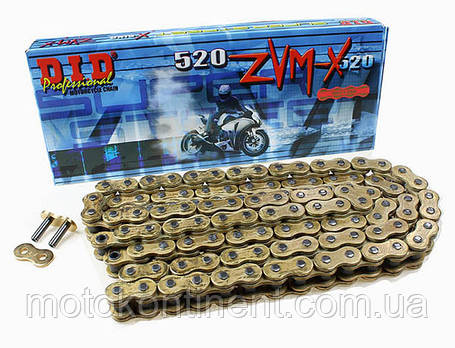 Мото ланцюг 530 DID 530ZVM-X 112 ланок G&G золота для мотоцикла сальник X 2 -Ring, фото 2