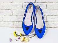 Балетки из натурального замша в цвете синий электрик
