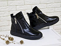 Хайтопы черного цвета с текстурой питон из натуральной кожи
