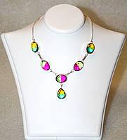 Колье-цепочка с цветными камнями