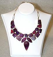Колье, ожерелье из натуральных камней - АГАТ (ПАУТИНЧАТЫЙ, ВЕНЫ ДРАКОНА)