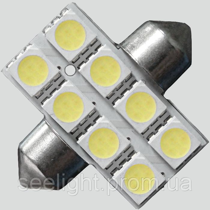 Светодиодная автомобильная лампа в подсветку салона автомобиля SV8,5(C5W)-31mm-5050-8