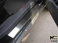 Mitsubishi Outlander 2008-2013 гг. Накладки на пороги Натанико (4 шт, нерж.) Стандарт - лента Lohmann, 0.5мм