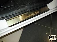 Mitsubishi Lancer X 2008+ гг. Накладки на пороги Натанико (4 шт, нерж.) Стандарт - лента Lohmann, 0.5мм