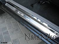 Mitsubishi L200 2007-2015 гг. Накладки на пороги Натанико (2 шт, нерж.) Стандарт - лента Lohmann, 0.5мм