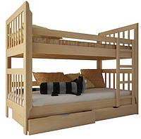 """Двухъярусная кровать """"Зарина"""" из дерева (массив бука) 70/200, Натуральный бук, нет"""