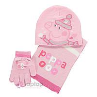 """Комплект """"Пеппа"""" шапка, шарф и перчатки"""