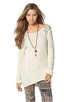 Удлиненный  пуловер AJC кремовый