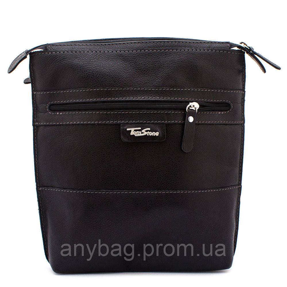 44ef2ac5e7d4 Мужская кожаная сумка через плечо Tom Stone B-TS08998 черная - интернет- магазин anyBag