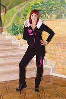 Модный трикотажный женский спортивный костюм с меховым капюшоном. 1025