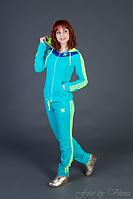 Трикотажный спортивный костюм, с неоновыми лампасами и капюшоном 7042