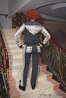 Мягкий спортивный женский костюм из трикотажа в клетку. 1022