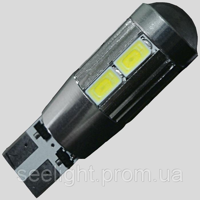 Светодиодная лампа в габарит T10(W5W) с встроенной обманкой бортового компьютера 10-5630 9-30-Линза