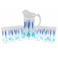 """Набор для сока кувшин и 6 стаканов стеклянный """"BLUE"""""""