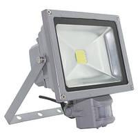 Светодиодный прожектор Feron LL-242 (LL-834)1LED 20W белый 6400К (+датчик) 230V Серебро IP44