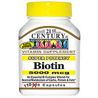 Биотин, суперсильное действие, 5000 мкг, 21st Century 110 капсул