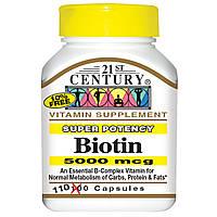 21st Century, Биотин, суперсильное действие, 5000 мкг, 110 капсул