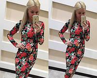 Платье миди стильное с длинными рукавами, яркий цветочный принт