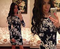 Платье короткое стильное с красивыми узорами