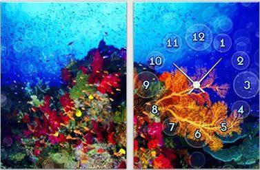 "Модульная картина-часы (60х40 см) ""Под водой"""