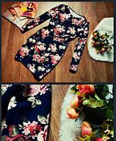 Платье молодежное стильное с цветочным принтом