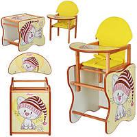 Кресло для кормления + парта трансформер KITTEN Котенок из дерева Ольха