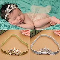 Детская корона на повязке серебро ободок для волос