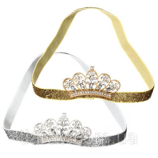 Детская корона МИЛА на повязке серебро диадема детская для девочки аксессуары для волос