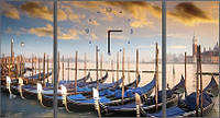 "Модульная картина-часы (80х45 см) ""Лодки у причала"""