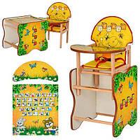 Кресло для кормления + парта трансформер Азбука из дерева Ольха