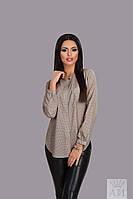 Модная бежевая шифоновая блузка в горошек, с карманчиком. Арт-9849/17