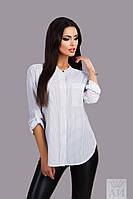 Модная белая  шифоновая блузка в горошек, с карманчиком. Арт-9849/17