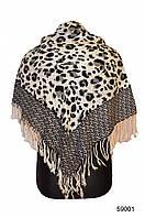 Серый леопардовый кашемировый платок