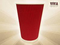 Бумажные стаканы RIPPLE 360 мл (красные)
