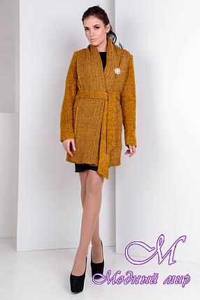 Роскошное женское пальто цвета горчица  (р. S, M, L) арт. Капучино крупное букле 9139, фото 2