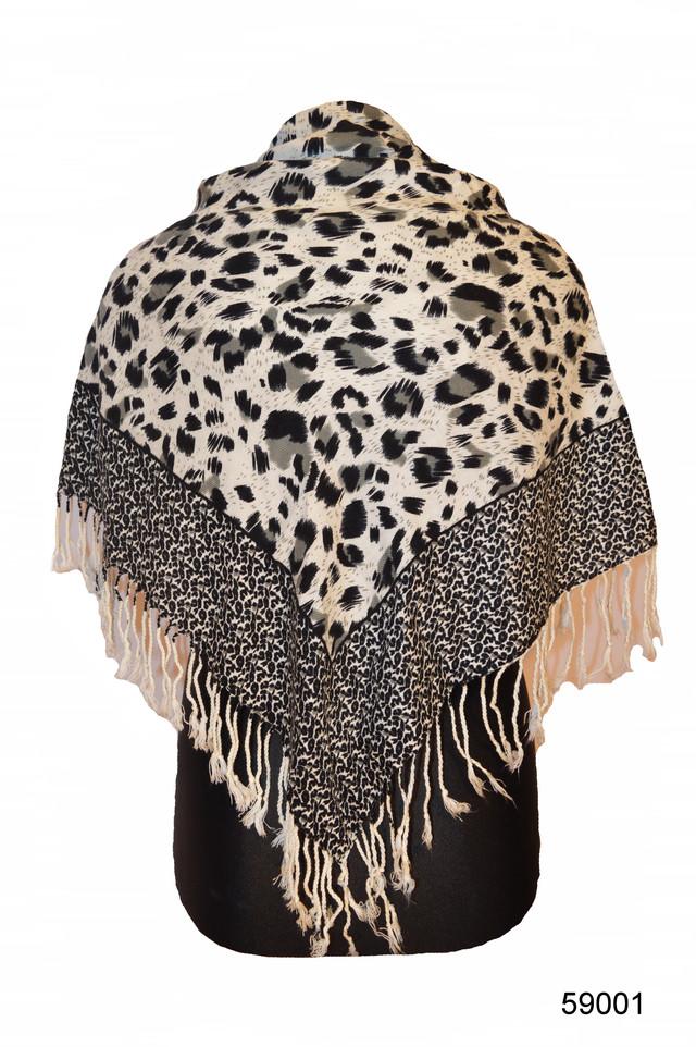 Серый леопардовый кашемировый платок 1