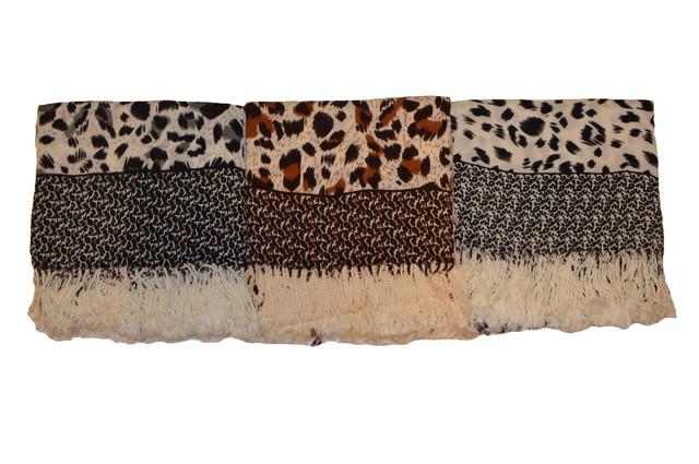 Коричневый леопардовый кашемировый платок 4