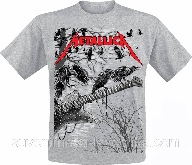 Рок Футболка Metallica (Guitar with ravens (Меланж))