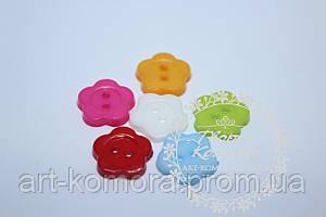 """Пуговицы пластмассовые """"Цветок"""", 1,2 см. Цвет: микс, в наборе 5 шт."""