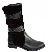 Женские ботинки на низком ходу из натуральной кожи и замши, демисезонные.
