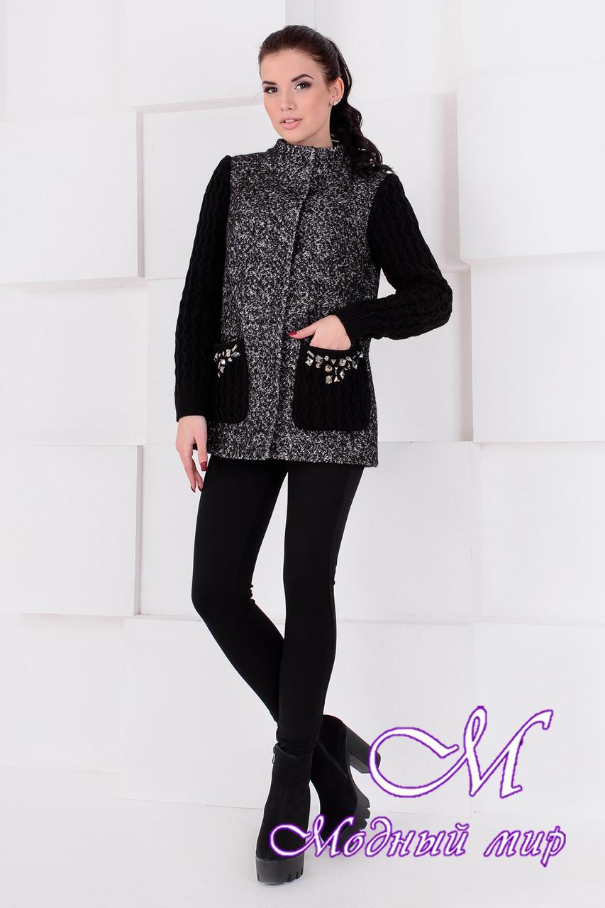 Короткое женское демисезонное пальто (р. S, M, L) арт. Карамель крупное букле 9061