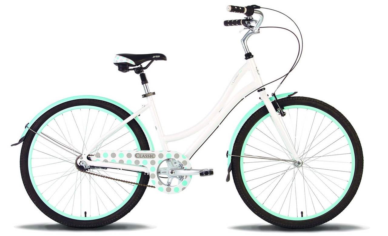 "Велосипед 26'' Pride CLASSIC рама - 16"" бело-голубой глянцевый 2016"