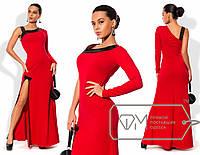 Платье в пол приталенное из креп-дайвинга с асимметричным декольте