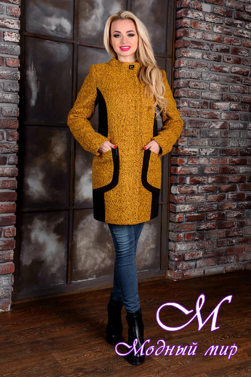 Деловое женское демисезонное пальто цвета горчица  (р. S, M, L) арт. Каскад крупное букле 9134