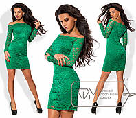 Платье мини облегающее из стрейч-гипюра на микромасле