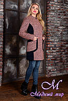 Деловое женское демисезонное пальто цвета какао (р. S, M, L) арт. Каскад крупное букле 9135