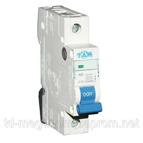 Автоматичний вимикач ТДМ А60 1Р 16А 4,5 кА х-ка С