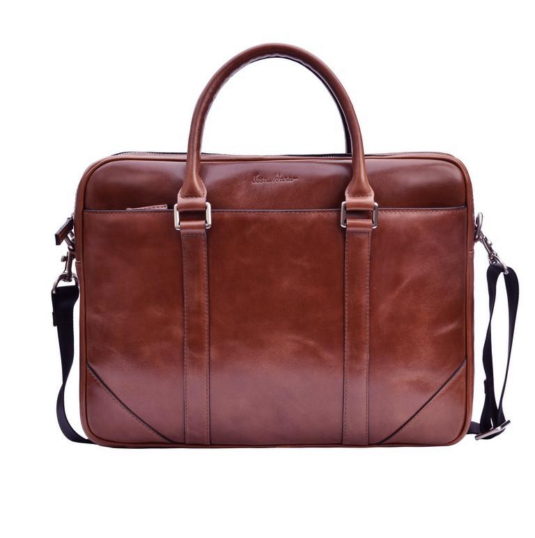 Кожаный мужской портфель Issa Hara B14 коричневый